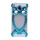 Fashion Owl Style Electroplate Plastic/ Crystal Back Case for iPhone 5 - Blue + Red