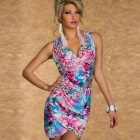 Fashion Sexy V-Neck Blossomy Crisscross Seamed Mini Dress for Woman - Orchid  (Free Size)