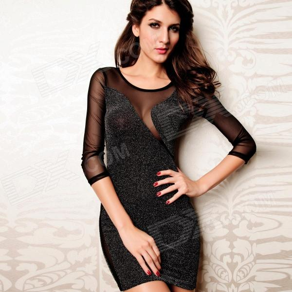 Fashionable Sexy Long Sleeve Glitter Bodycon Dress for Woman - Black (Free Size) long sleeve bodycon dress with slits