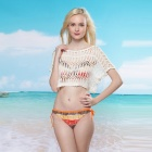 Fashion Sexy Knitted Hollow-out Crop Top for Woman - White (Size L)