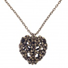 Retro Hollow Out Heart Shape Pendant w/ Shiny Rhinestone Long Necklace for Women - Bronze