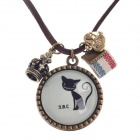 Cute Kitten and Crown Style Woman's Necklace - Bronze + White + Black