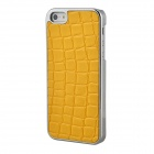 Protective Aluminum Alloy Case w/ Crocodile Pattern PU Leather for Iphone 5 - Yellow + Silver