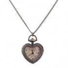 Retro Elegant Heart-Shaped Quartz Analog Women's Pocket Watch w/ Necklace Chain - Bronze (1 x 377S)