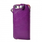 Protective PU Leather Case / Hanging Protection Bag for Iphone 5 - Purple