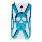 Skull Style Protective Electroplating Plastic Case for Samsung Galaxy S4 / i9500 - Blue