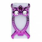 Fashion Owl Style Pierced Electroplate Plastic/ Crystal Back Case for Iphone 4 - Purple
