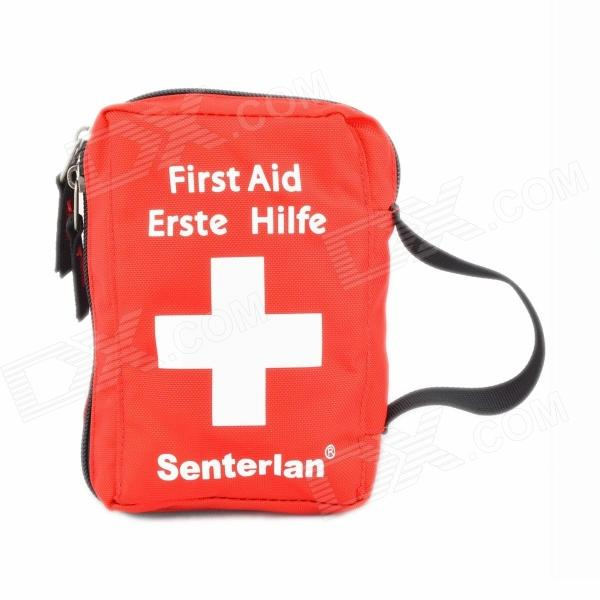 Senterlan Nylon First Aid Bag / Wash Supplies Bag - Red + White