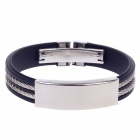 Fashionable Simple Silicone Titanium Steel Men's Bracelet - Black + Silver