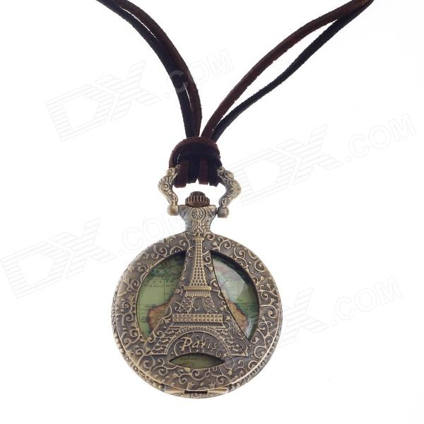 Vintage Eiffel Tower Style Quartz Pocket Wrist Watch w/ Necklace Chain - Bronze + Brown (1 x 377S) cute owl pendant chain necklace dual dial quartz pocket watch bronze 80cm chain 1 x lr626