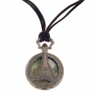 Vintage Eiffel Tower Style Quartz Pocket Wrist Watch w/ Necklace Chain - Bronze + Brown (1 x 377S)