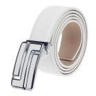 Rich Age Fashionable Men's Cow Split Leather Waist Belt - White + Silver