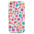 Fashion Flower Pattern TPU Back Case for Iphone 4 / 4S - Multicolored