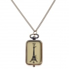 Retro Eiffel Tower Style Pocket Watch w/ Necklace Chain for Women - Bronze (1 x 377S)