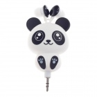 Lovely Panda Retractable In-Ear Earphone - White+Black (3.5mm-Plug / 80cm-Cable)