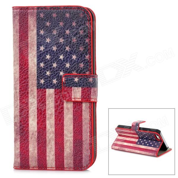 Fashion American Flag Pattern PU Leather Case for Iphone 5 - Blue + Red + White protective pu leather bag pouch with for iphone 5 blue white