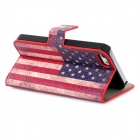 Fashion American Flag Pattern PU Leather Case for Iphone 5 - Blue + Red + White