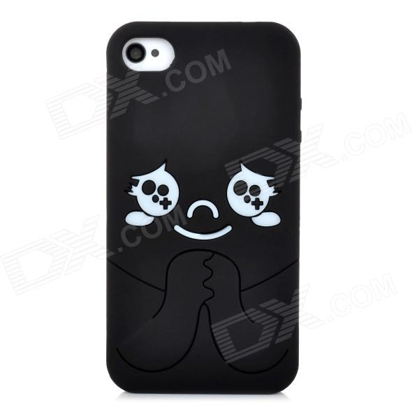 MTBB-4 Protective Cute Baby Pattern Silicone Back Case for Iphone 4 / 4S - Black аксессуар чехол samsung galaxy a3 2017 cojess tpu 0 3mm transparent