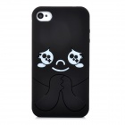MTBB-4 Protective Cute Baby Pattern Silicone Back Case for Iphone 4 / 4S - Black