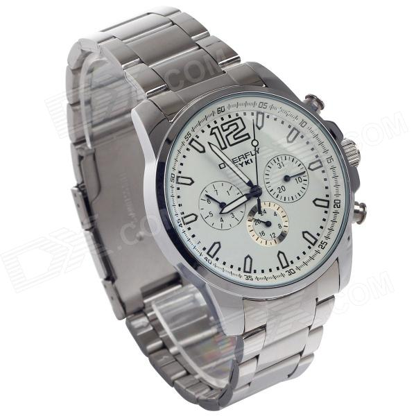 EYKI EOV8568AG Stainless Steel Quartz Wrist Watch w/ Six Stitch Stopwatch - Silver (1 x LR626) - DXFull Steel Watches<br>Brand EYKI Model EOV8568AG Quantity 1 Piece Color Silver + white Item Shape Round Dial Window Material Mineral Casing Material Stainless steel Band Material Stainless steel Clasp Fold Safety Buckle Suitable for Adults Gender Men Style Wrist Watch Type Fashion Watches Display Analog Movement Quartz Display Format 12 hour format Water Resistant Daily Water Resistant (not for Swimming) Dial Diameter 51 mm Dial Thickness 10 mm Band Length 180 mm Band Width 21 mm Battery 1 x LR626 battery (included) Features Movement: High quality quartz movement; Case: High quality stainless steel case + high quality strengthen glass mirror; Buckles: Fold safety clasp; Watch band: Sweat proof corrosion resistant stainless steel wrist strap; Feature: High precision quartz movement high accuracy and strong anti-jamming. The overall design is novel and refined Packing List 1 x Watch<br>