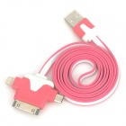USB 2.0 Male to 30-Pin / Lightning 8-Pin / Micro USB Data Charging Cable  - Deep Pink