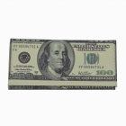 $100 Paper Money Design 3-Fold Long Wallet - Grey + White