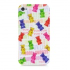 Fashion Bear Pattern TPU Back Case for Iphone 4 / 4S - Multicolored