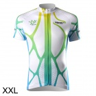 Spakct CSY299-2B Cycling Short Sleeve Jersey for Men - Green + White (Size XXL)