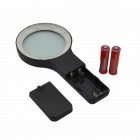 Handheld 5X Magnifier w/ 10-LED White Light - Black (2 x AA)