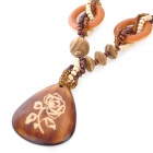 Stylish Wooden Beads Chain Water Drop Style Pendant Necklace for Women - Coffee