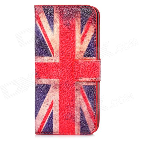 Fashion England Flag Pattern PU Leather Case for Iphone 5 - Red + Blue + White fashion england flag pattern wallet style pu leather case for iphone 4 4s multicolored