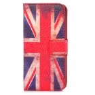 Fashion UK Flag-Muster PU-Leder Etui für iPhone 5 - Rot + Blau + Weiß