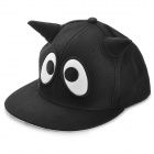 DIR-028 Cute Big Eyes Pattern Sharp Horn Style Polyester Hat - Black + White