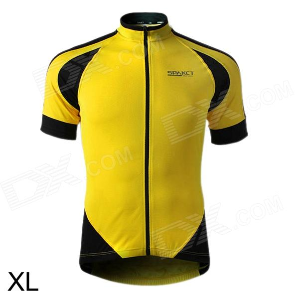 SPAKCT S13C012 Short Sleeve Men's Cycling Clothes - Black + Yellow (Size XL) spakct cool006 knuckle riding cycling gloves black white red xl 21cm