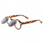 DIR-026 Retro Style Leopard Pattern Flip-Open UV400 Protection Sunglasses - Black + Brown