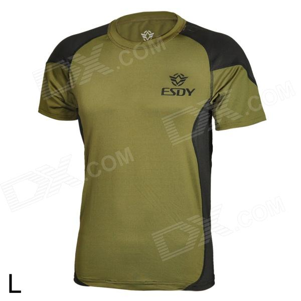 ESDY ESDY-8866 Outdoor Men's Quick Drying Short T-Shirt - Army Green + Black (Size L) esdy 619 men s outdoor sports climbing detachable quick drying polyester shirt camouflage xxl