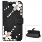 Elegant Pearl Flower Style Protective Rhinestone + PU Leather Case for iPhone 5 - Black + Beige