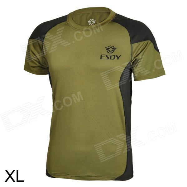 ESDY ESDY-8866 Outdoor Men's Quick Drying Short T-Shirt - Army Green + Black (Size XL) esdy esdy 8869 outdoor men s quick drying round neck short t shirt dark grey size xxl