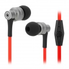 JBMMJ MJ8600 Stylish In-Ear Earphones w/ Microphone - Grey + Red + Black (3.5mm Plug / 125cm)
