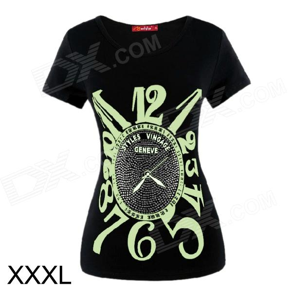Creative Watch Pattern Round Collar Luminous Short Sleeve T-Shirt - Black + Green (XXXL)