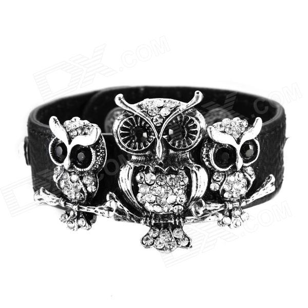 eQute BLEW3C2 Luxurious Full Stone Owl PU Leather Bracelet - Black + Antique Silver gothic skull hand pu leather bracelet black silver