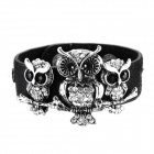 eQute BLEW3C2 Luxurious Full Stone Owl PU Leather Bracelet - Black + Antique Silver