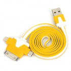 USB 2.0 Male to Micro USB / Lightning 8-Pin / 30-Pin Data Charging Cable - Yellow