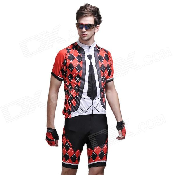 Grille Tie Men's Short-Sleeve Cycling Jersey & Shorts Set - Black + Red + White (Size-XXL) rusuoo k01007 bicycle cycling jersey bib shorts set white black size xxl 180 185cm