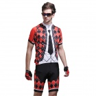 Grille Tie Men's Short-Sleeve Cycling Jersey & Shorts Set - Black + Red + White (Size-XXL)