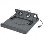 230 Folding Adjustable Angle Dual-fan Cooling Gear Stand for Laptop - Black