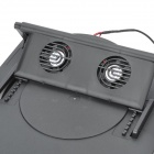 Folding Adjustable Angle Dual-fan Cooling Gear Stand for Laptop - Black