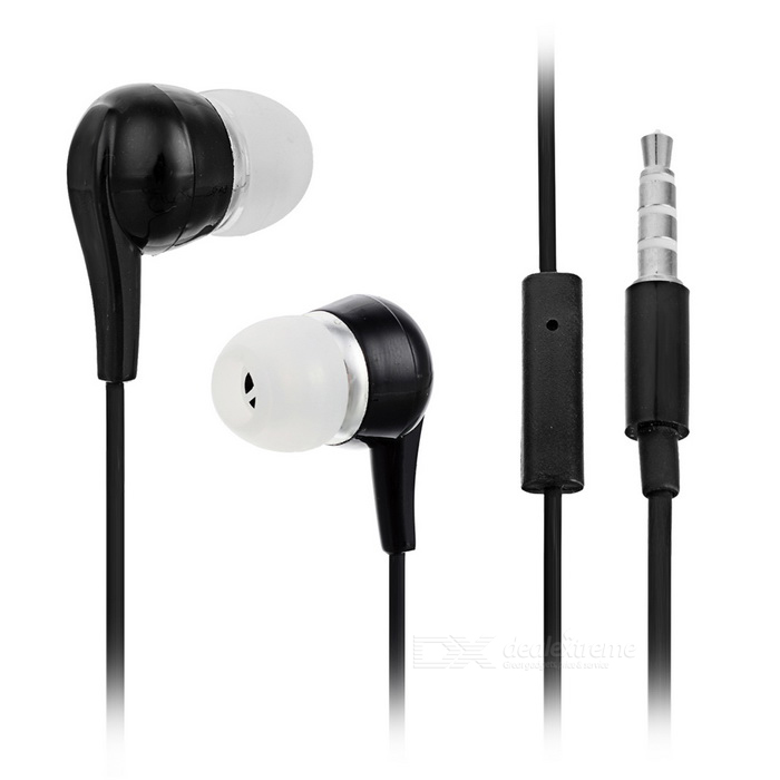 Stylish In-Ear Earphones w/ Microphone for Iphone / Samsung - Black (3.5mm Plug / 1.1m) ovleng ip680 stylish in ear earphones w microphone for samsung iphone htc black silver