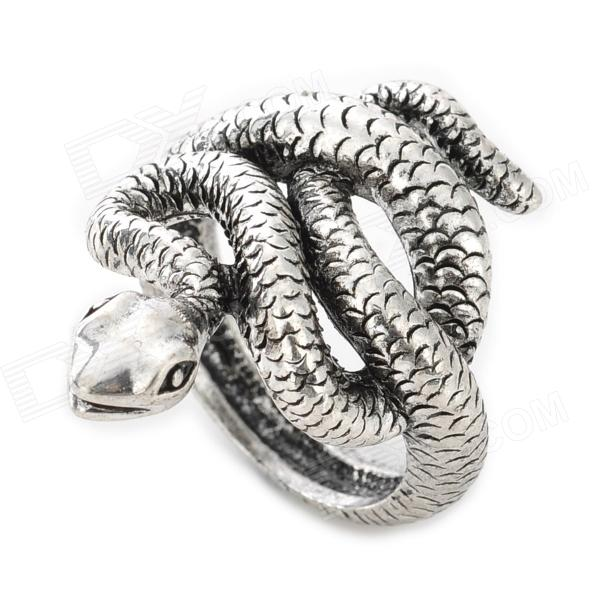 1801# Snake Style Zinc Alloy Ring - Silver fashion birds style double refers zinc alloy open ring silver