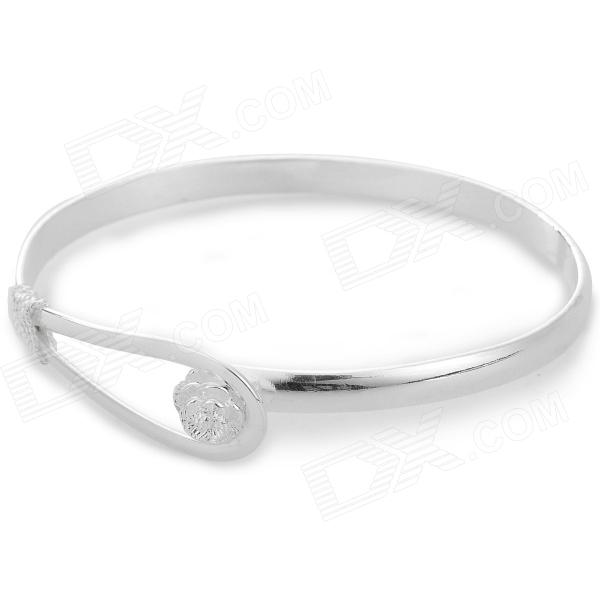 Stylish Rose Pattern Silver-plated Copper Bracelet for Women - Silver stylish rose style 925 silver women s bracelet silver